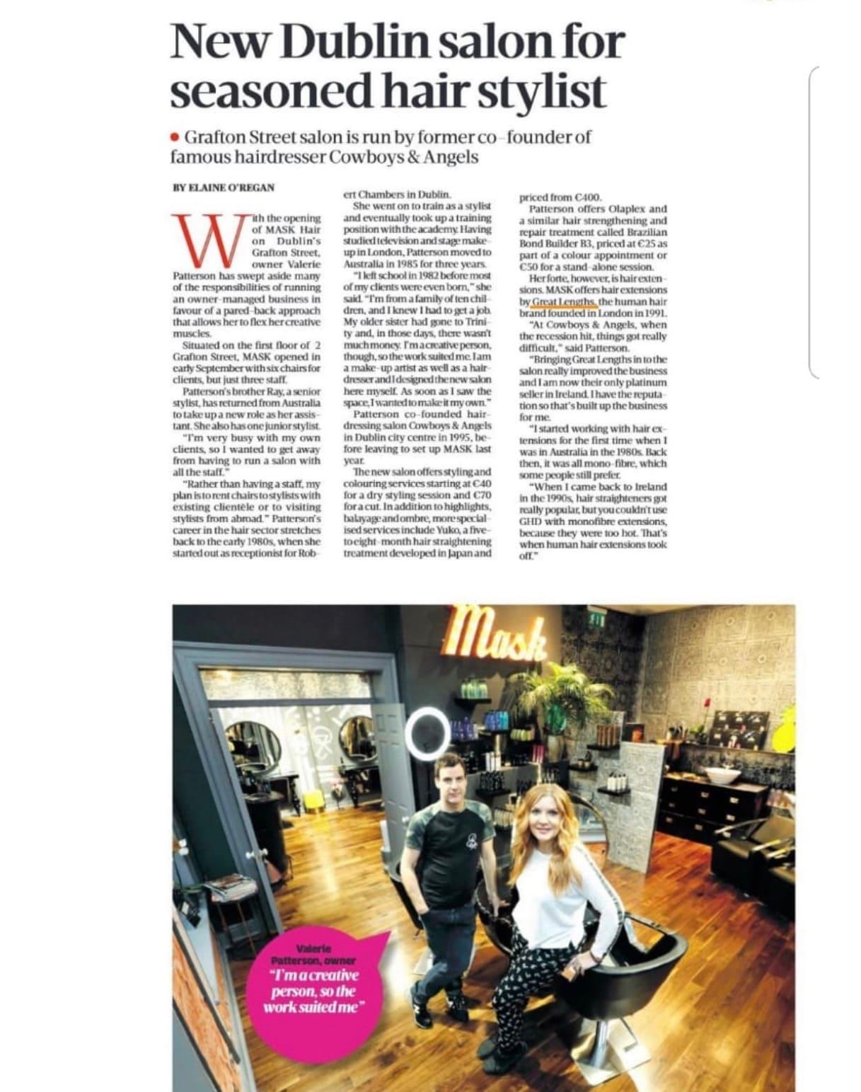 Mask Hair in the Press new dublin salon for seasoned hair stylist