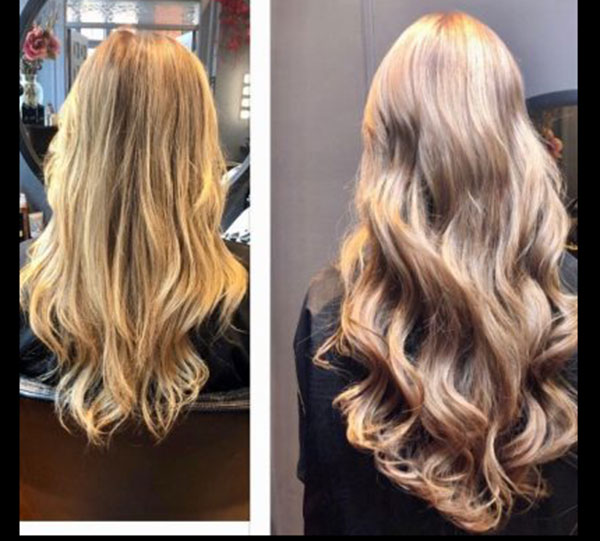 long blonde wavy extension